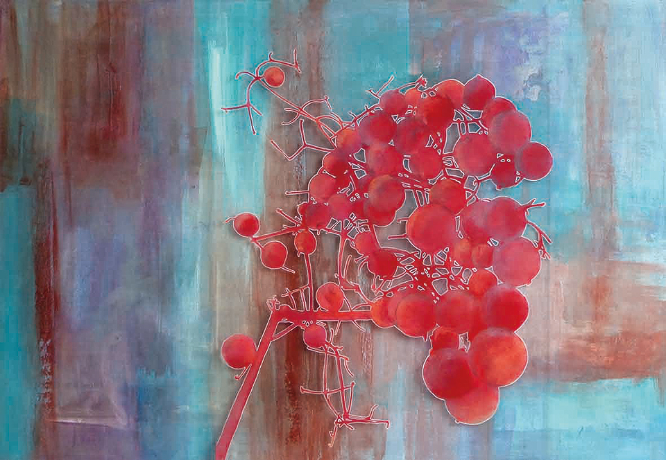 Wild Berries - Mixed Media 80 x 100 cm